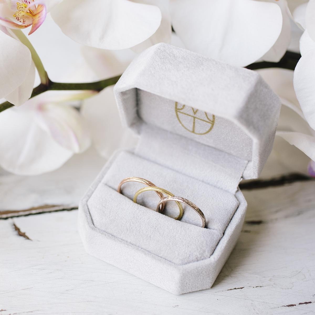 Feather Wedding Bands | Hammered Gold Wedding Bands — Melissa Tyson ...