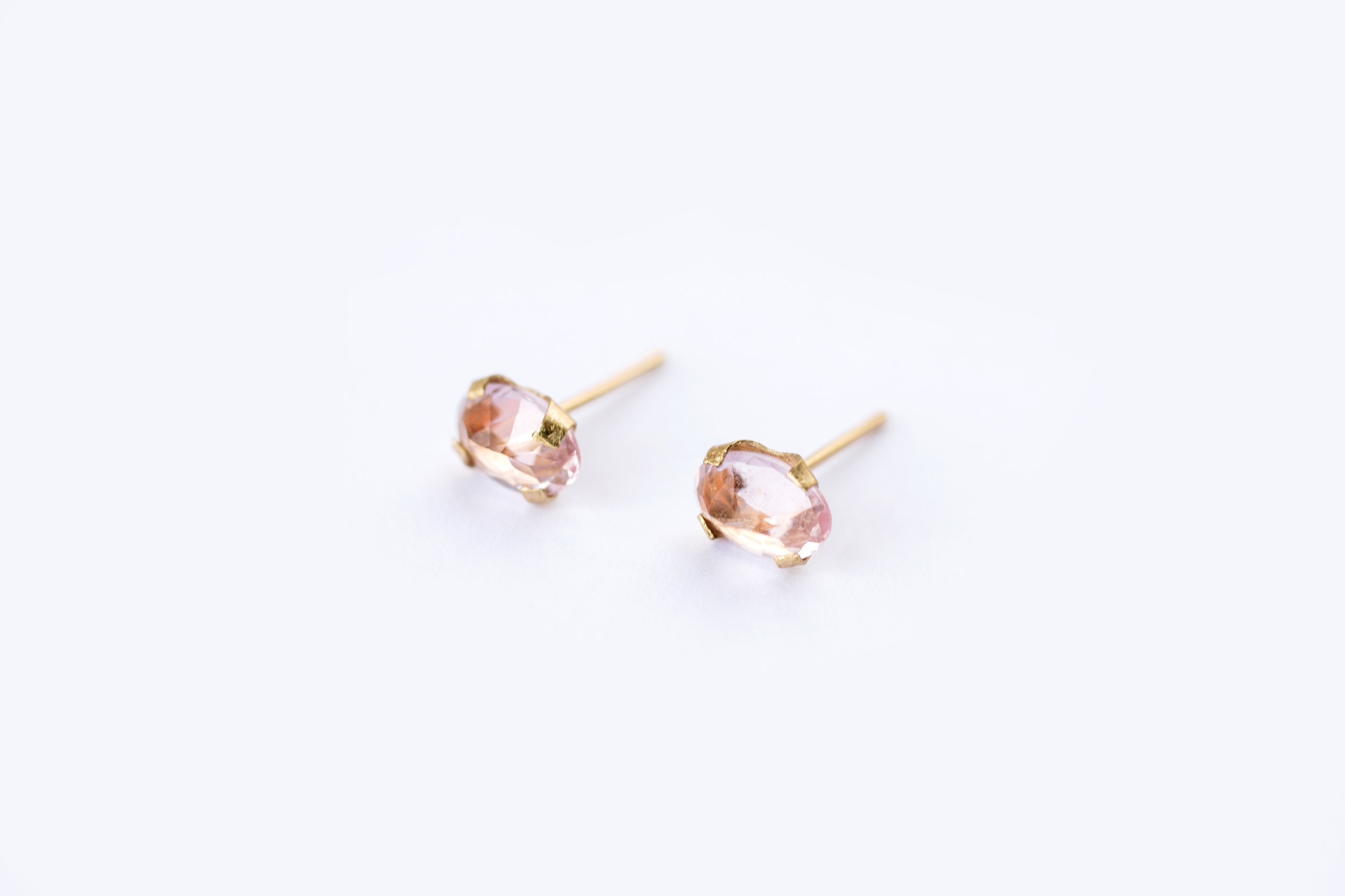 morganite stud earrings white gold with diamonds in