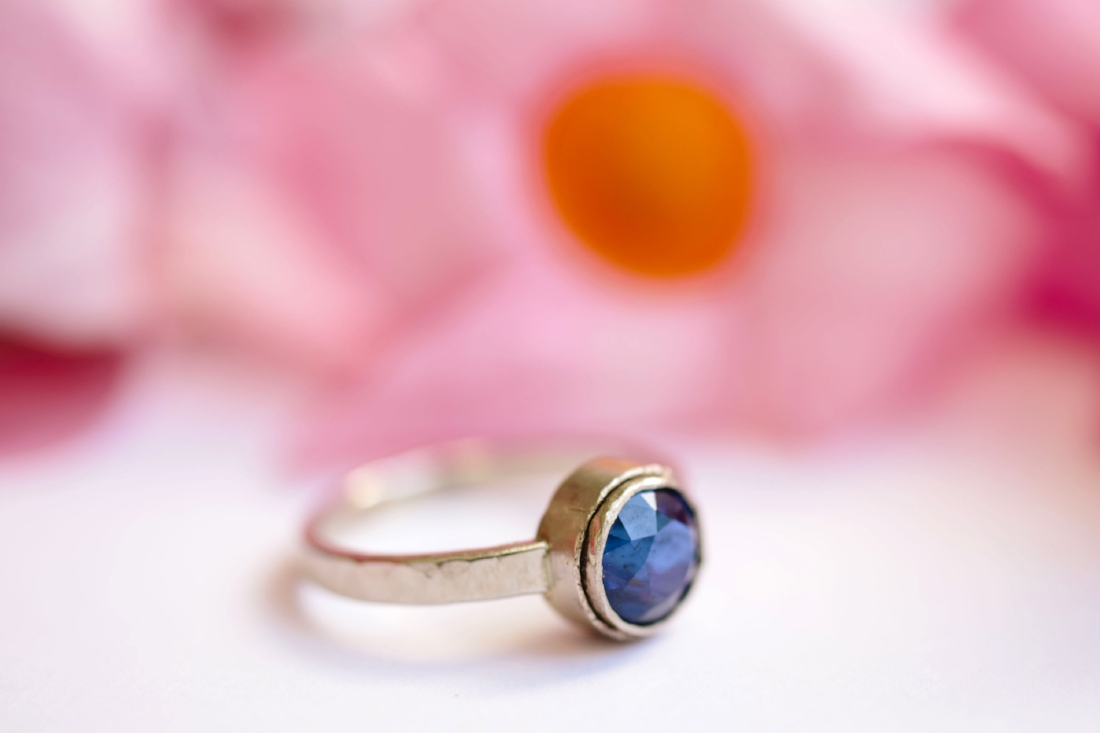 Twilight | Blue Sapphire 18k Hammered White Gold Engagement Ring ...