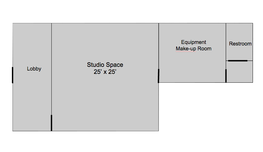 Your Own Studio offers a lobby, studio, equipment/green room, and restroom available to you and your clients.
