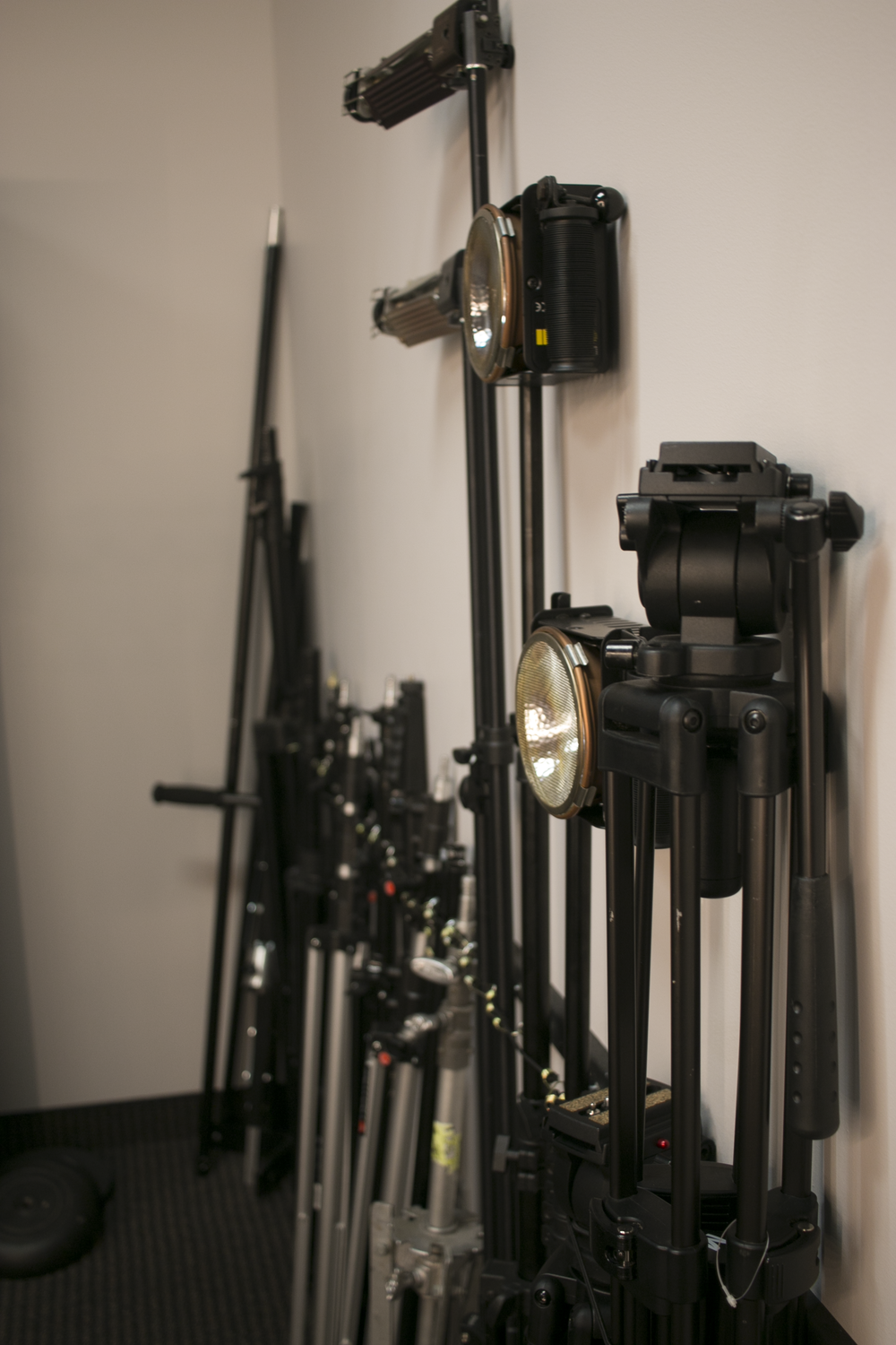Tripods, c-stands, lights, jib