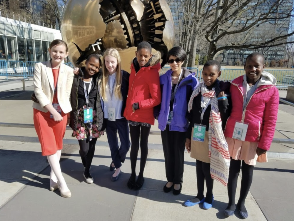 Outside the UN Headquarters with their Whitby friends