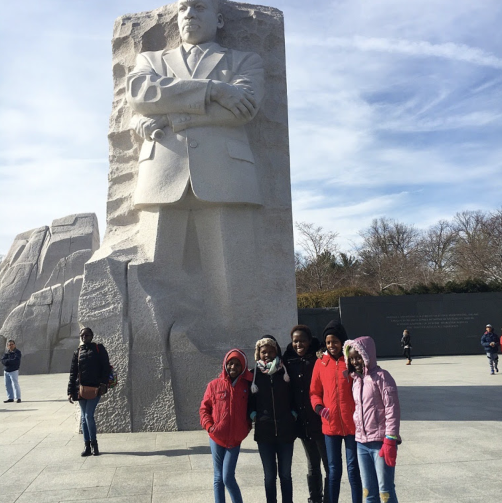 Kakenya and the girls in front of the Martin Luther King Jr. Memorial