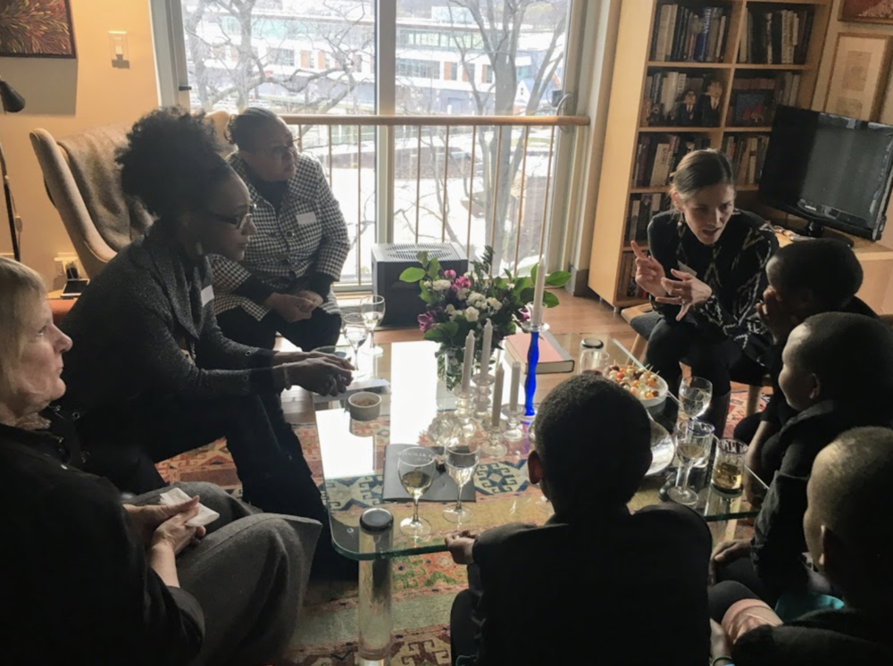 The girls sit with friends of Kakenya's Dream in Washington, DC