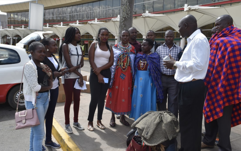 Family and Community Board members gather to send off their girls in Nairobi