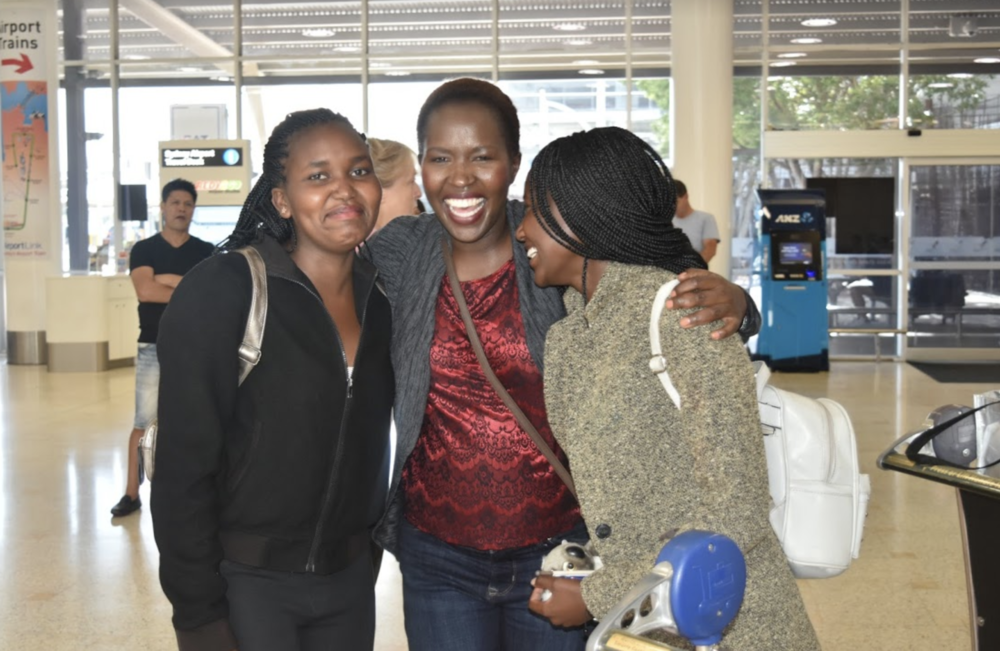 Sharon and Linet are reunited with Kakenya at the Sydney airport