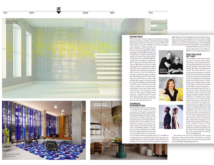 CATCH THE LATEST ISSUE OF DUJOUR THAT FEATURES A SNEAK PEAK OF THE NEW JILL MALEK WALLCOVERING COLLECTION: REFLECT/REFRACT!     PAGES 68-69!   https://issuu.com/dujour/docs/spring_2019_small
