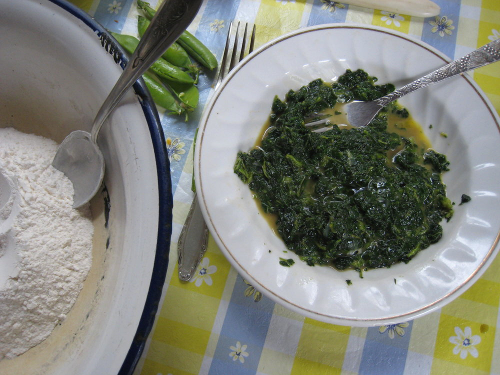 Nettles sauteed in onion and garlic