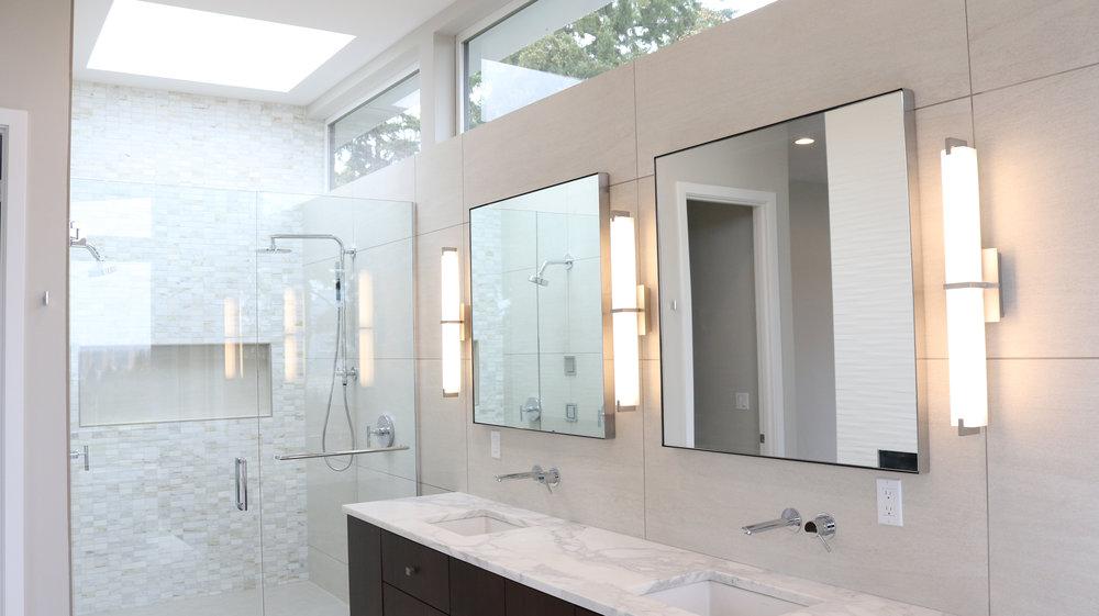 Frameless Shower Door & Floating Mirrors