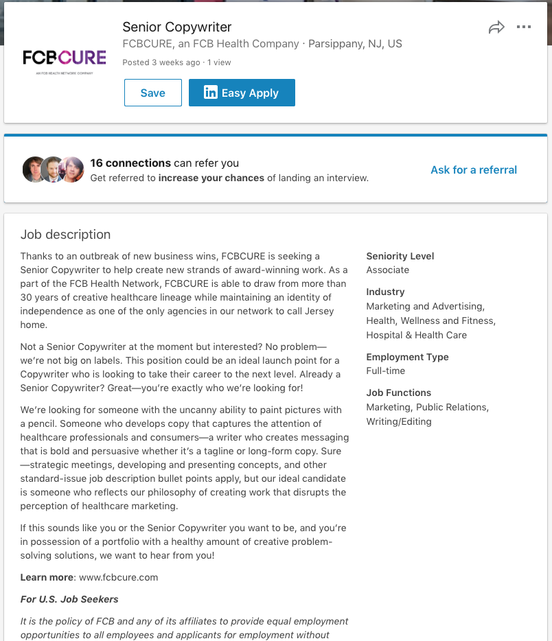 Job Descriptions — Rich DeJoseph, Copywriter