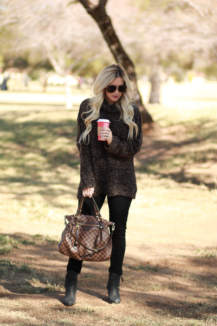 Live Love Blank Free People Brown Cozy Sweater and Paige Premium Denim Maternity Black Ripped Jeans