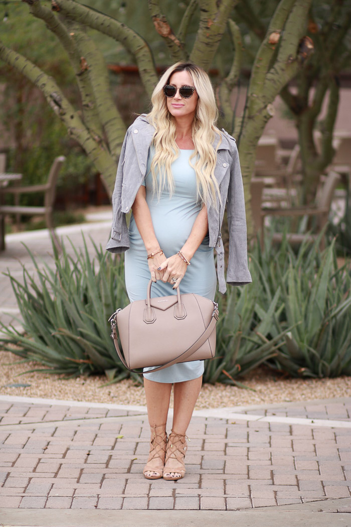 Nordstrom Asos Maternity Light Baby Blue Dress Givenchy Bag Toms sunglasses Antigona Sam edelman heels
