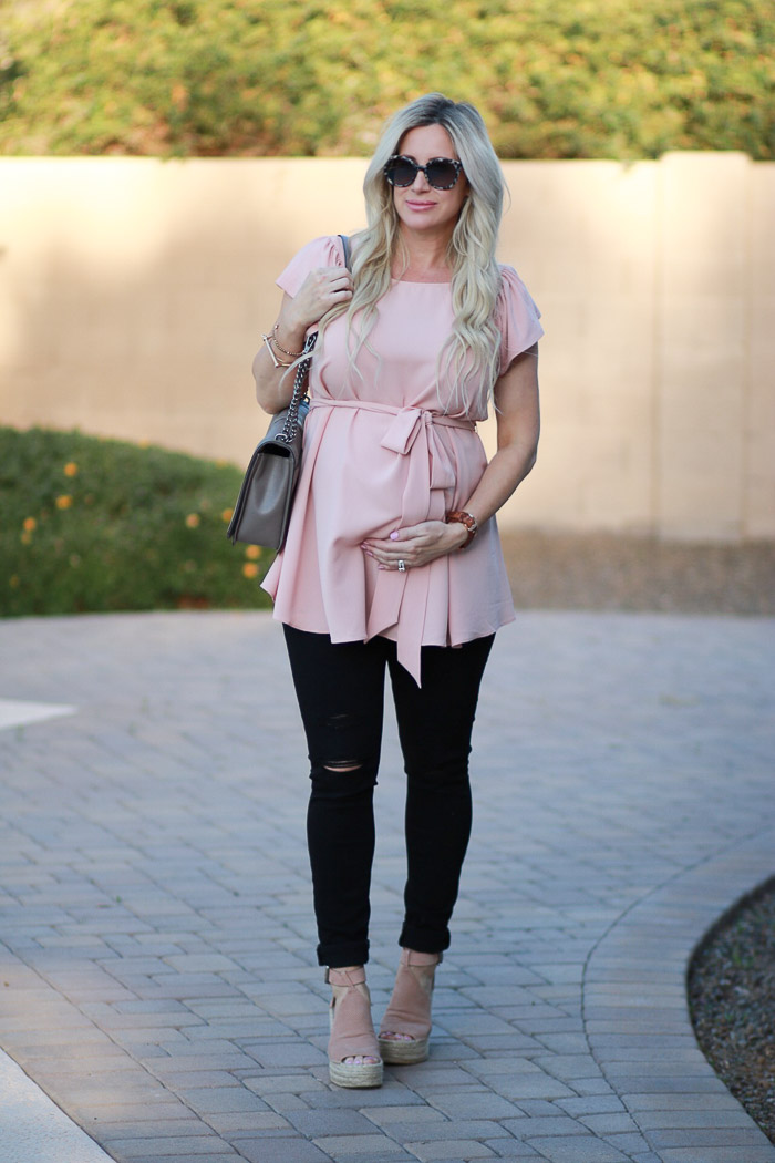 Live Love Blank Maternity Clothing with Kimi + Kai Kimi and Kai Blush Pink wrap tie top blouse Pregnancy style, maternity style, third trimester dressing for pregnancy style