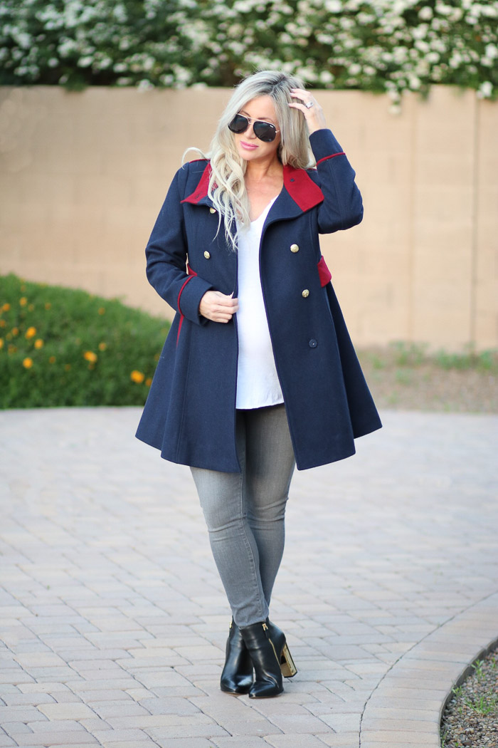 Live Love Blank Maternity Clothing with Kimi + Kai Kimi and Kai Navy Blue Red Military Fit Flare Coat Jacket , Pregnancy style, maternity style, third trimester dressing for pregnancy style
