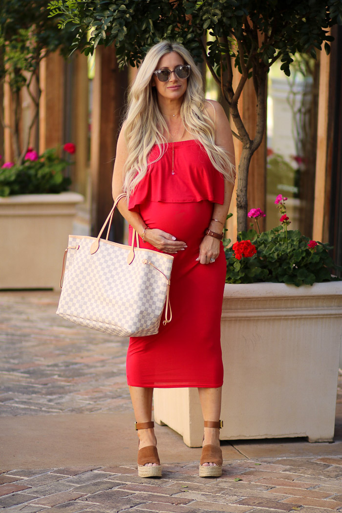 Live Love Blank Pregnancy week 38, feeling good felling red, Boohoo Red Off the shoulder maternity pregnancy dress Third trimester, cute maternity dresses, 38 weeks pregnant, Marc fisher wedges, best summer sandal, Louis Vuitton Neverfull GM Diaper Bag must have