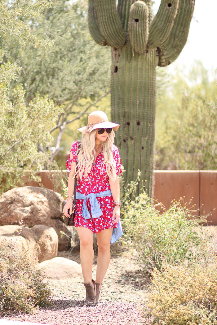 Live Love Blank Boho Red floral Dress Cochella Bohemian Style with Express Clothing, Quay Sunnies Wide Brim Hat, Beige Tan, Jeffrey Campbell Booties Louis Vuitton Crossbody Pochette bag Dressing 3 weeks Postpartum New mom spring style