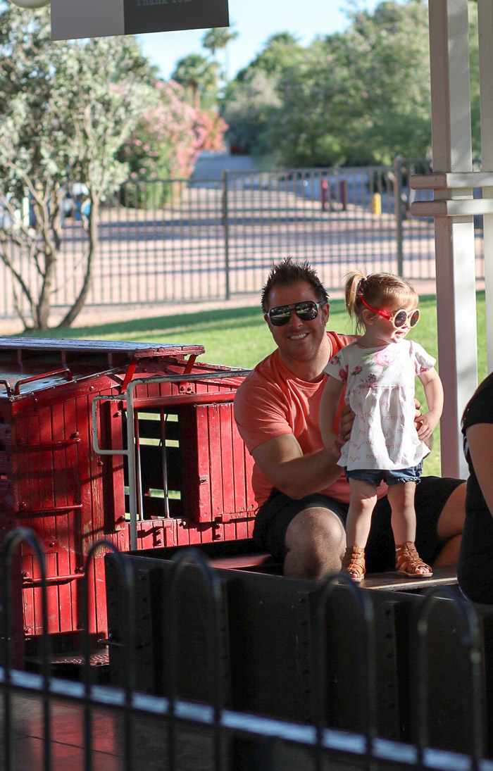 All smiles for the train with her daddy! Seriously the cutest ride ever!!