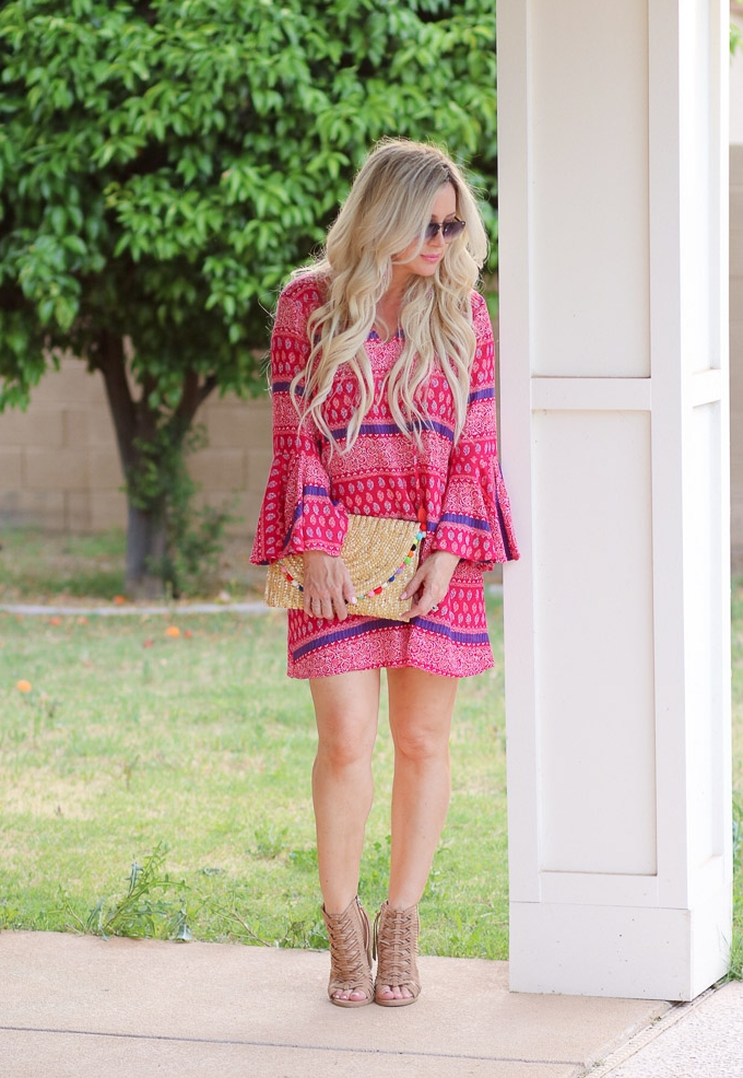 live love blank sheIn She In red purple flare sleeve printed swimsuit tunic coverup dress Summer Style on a Budget Everything Under $35 except the sunnies target dolce vita sandals, francescas pom pom straw beach clutch bag handbag quay sunnies Express clothing tassel earrings