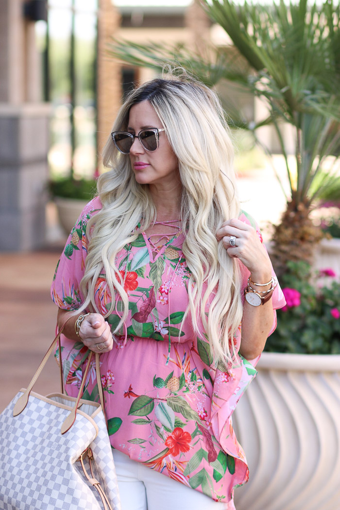 Live Love Blank Tropical Dress as a tunic, express clothing, pink floral tropical print, white asos skinnies, nude stacked heel sandals, louis vuitton neverfull monogram white bag, long blonde bombshell extensions spring summer styling fashion blog style