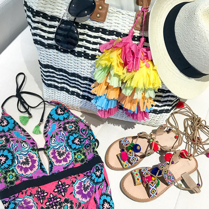 live love blank Instagram Roundup Favorite Fashion Design Beauty Mommyhood Posts Asos beach bag, Chinese laundry sandals, hinge Hat panama straw Quay needing fame sunnies Australia, black sunglasses, nanette lepore one piece swimsuit