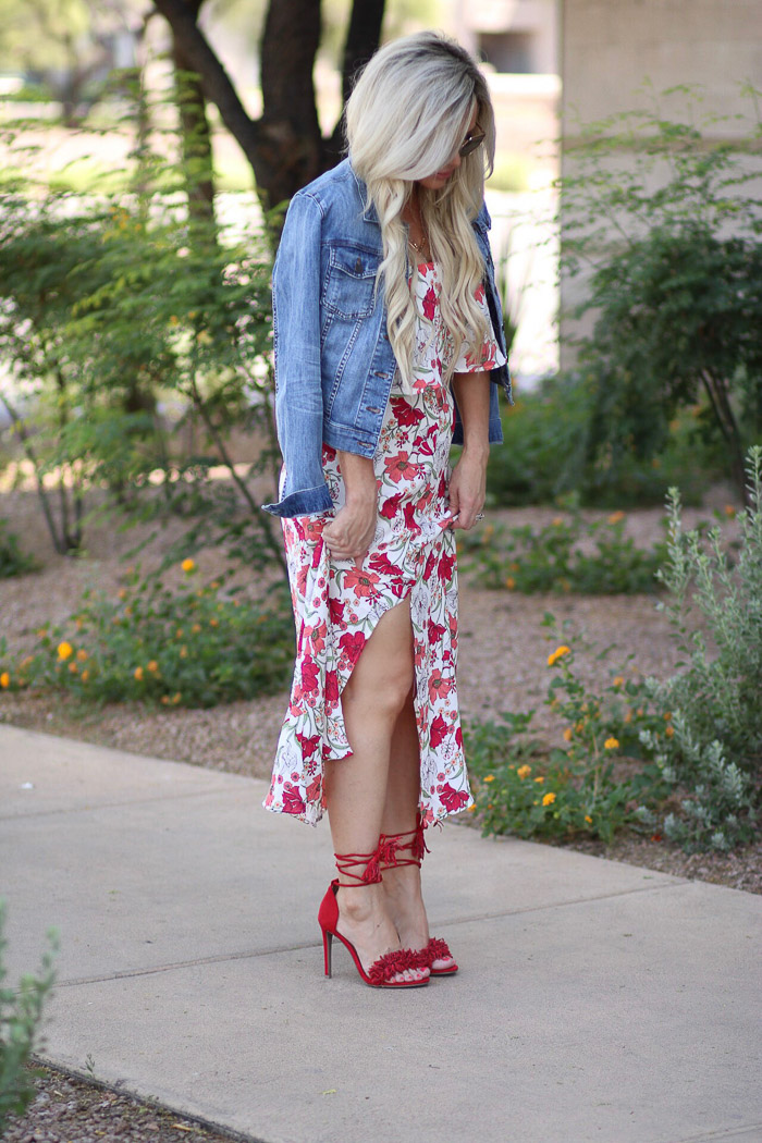 Live Love Blank Red Floral Dress Nordstrom, denim Jacket Jeans Kut from the Cloth, and Red fringe high heels Target , $12 BP Sunglasses Sunnies, express clothing layered necklace