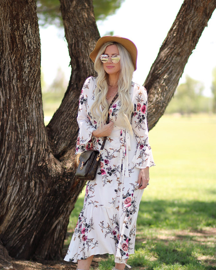 Live Love Blank Instagram Favorites Round Up and Recap June 2017 Shein Floral Boho dress and floppy hat nordstrom, louis vuitton pochette metis