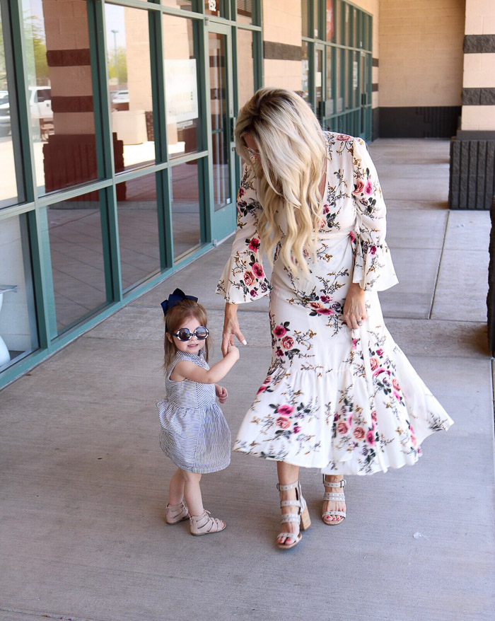 Live Love Blank Instagram Favorites Round Up and Recap June 2017 SheIn Floral dress sam edelmna sandals with grommets baby gap old navy blue white stripe toddler dress, old navy kids sandals gladiators, and janie and jack sunnies baby