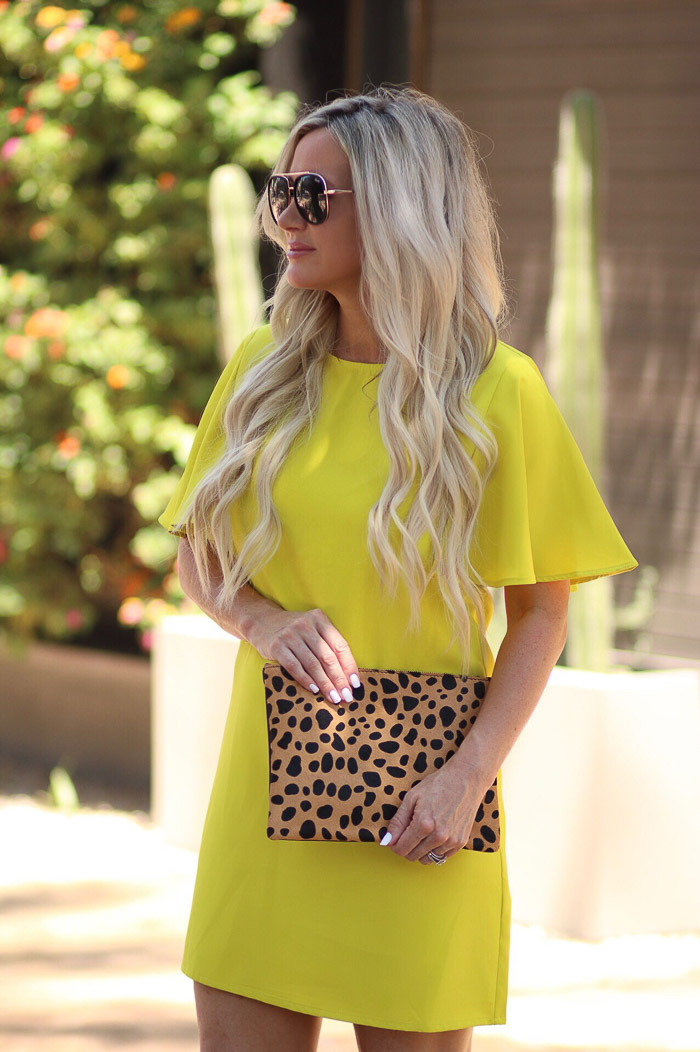 Live Love Blank Instagram Favorites Round Up and Recap June 2017 SheIn Yellow neon dress with flutter sleeves, leopard bag from nordstrom quay needing Fame sunnies sunglasses