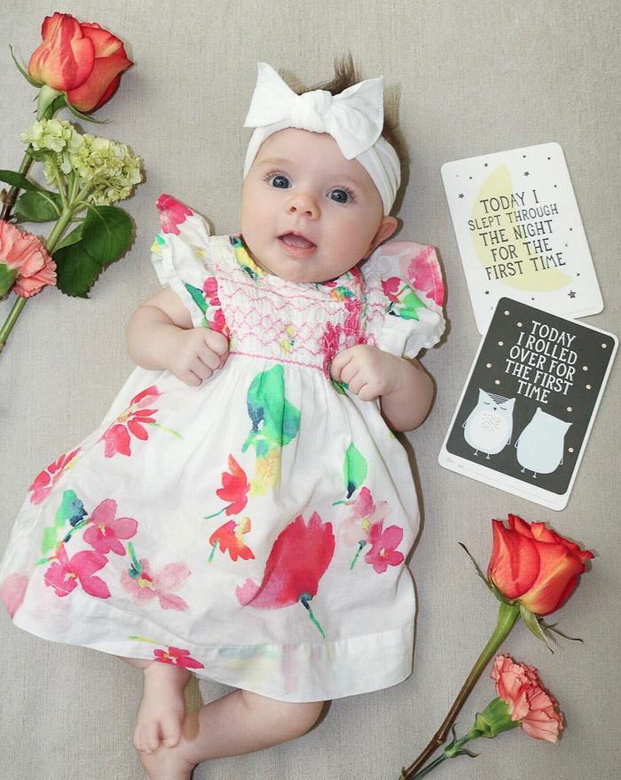 Live Love Blank Instagram Favorites Round Up and Recap June 2017 baby gap gap kids flroal dress grayson baby gray, milestone cards baby bling white headband bow