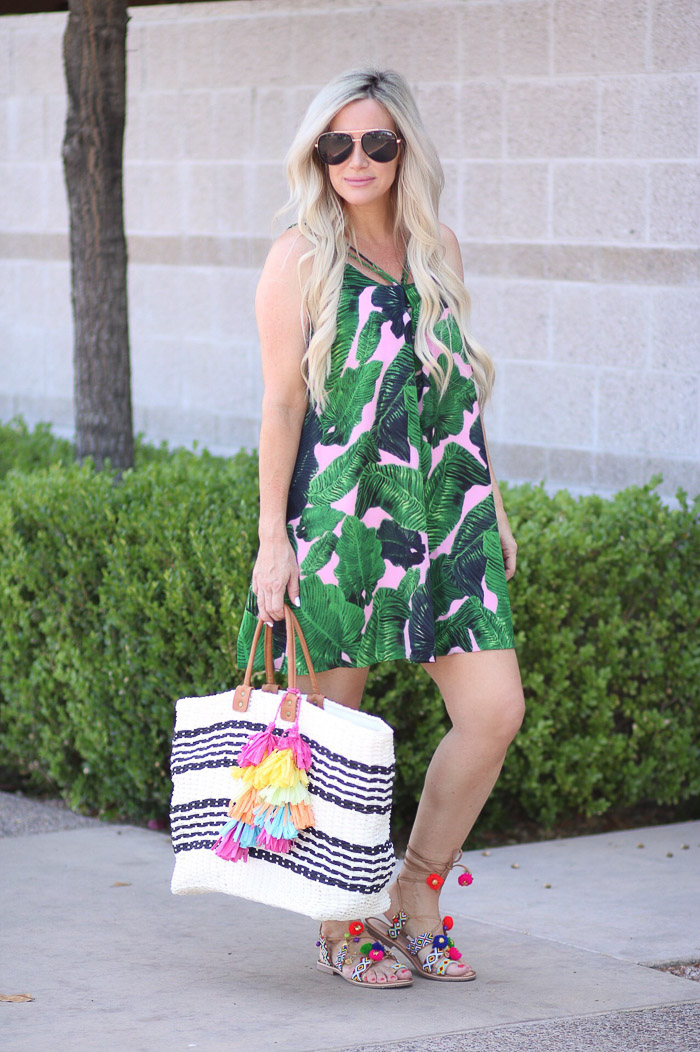 Live Love Blank Instagram Favorites Round Up and Recap June 2017 SheIn Palm Print floral dress bathing suit coverup, beach bag asos with tassel trim, chinese laundry pompom tassel sandals , quay needing fame sunglasses sunnies