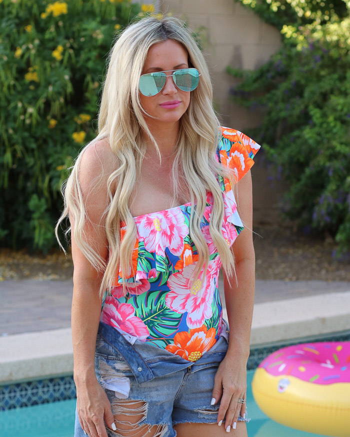 Live Love Blank Instagram Favorites Round Up and Recap June 2017 Asos Floral ruffle one shoulder tropical bikini swimsuit one piece off the shoulder, blue desi for quay australia sunnies sunglasses top shop denim shorts mom shorts distressed jeans