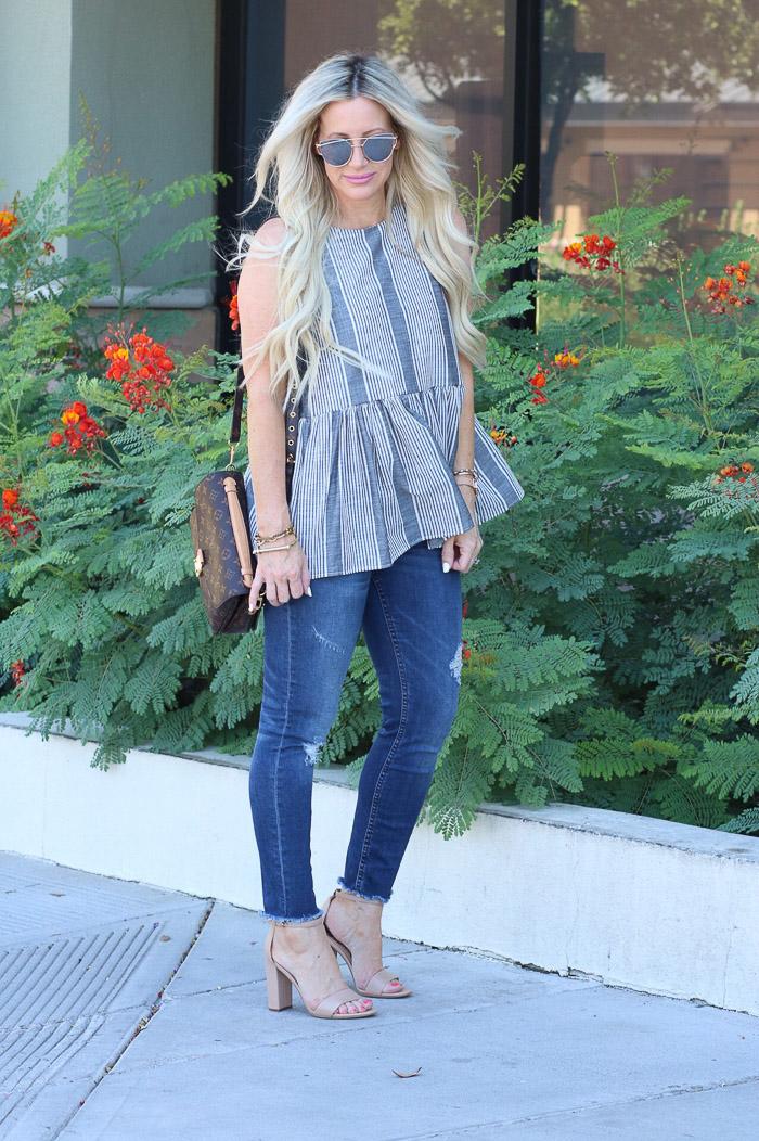 Live Love Blank Instagram Favorites Round Up and Recap June 2017 BP Peplum stripe top, sam edelman beige snadlas heels, louis vuitton pochette metis, and nordtsrom distressed denim jeans bp sunglasses sunnies