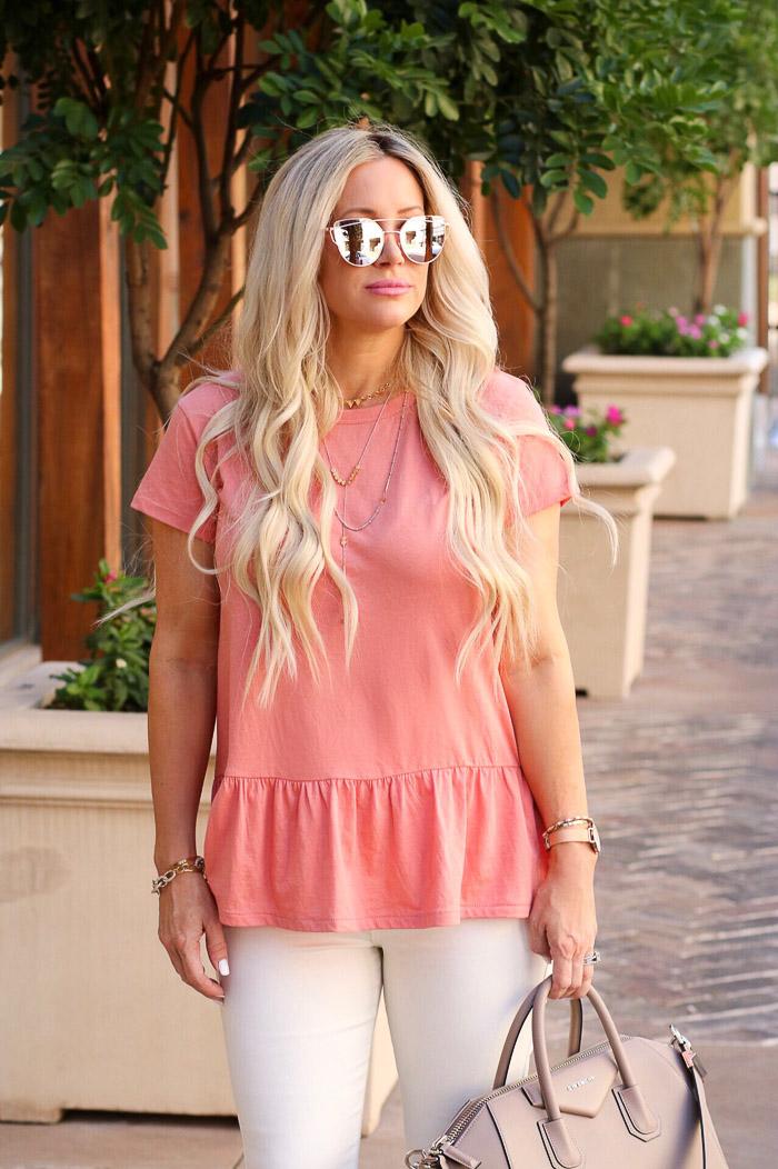 Live Love Blank Instagram Favorites Round Up and Recap June 2017 Nordstrom pink peach peplum top tee carlson white asos skinny jeans denim, givenchy medium antigonia handbag bag purse, express layered gold necklace, bp sunnies sunglasses