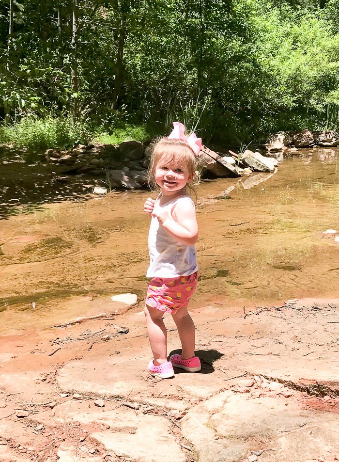 Live Love Blank Instagram Favorites Round Up and Recap June 2017 Gap pineapple kids baby shorts lemon old navy water shoes pink kids, hiking sedona, west fork trail arizona creek