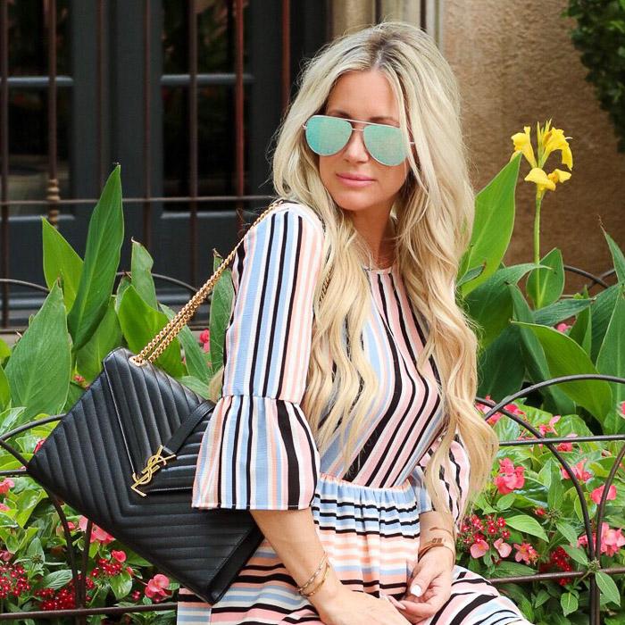 Live Love Blank Instagram Favorites Round Up and Recap June 2017 YSL Black and gold handbag purse envelope bag clutch, desi perkins quay austraila sunglasses sunnies, nordstrom stripe dress charles henry