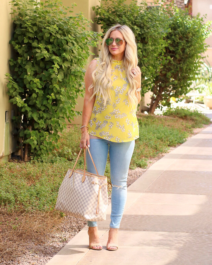 Live Love Blank Instagram Favorites Round Up and Recap June 2017 target yellow top blouse, asos ripped skinny stretch jeans, sam edelman beige heels, quay desi sunglasses sunnies, louis vuitton neverfull gm