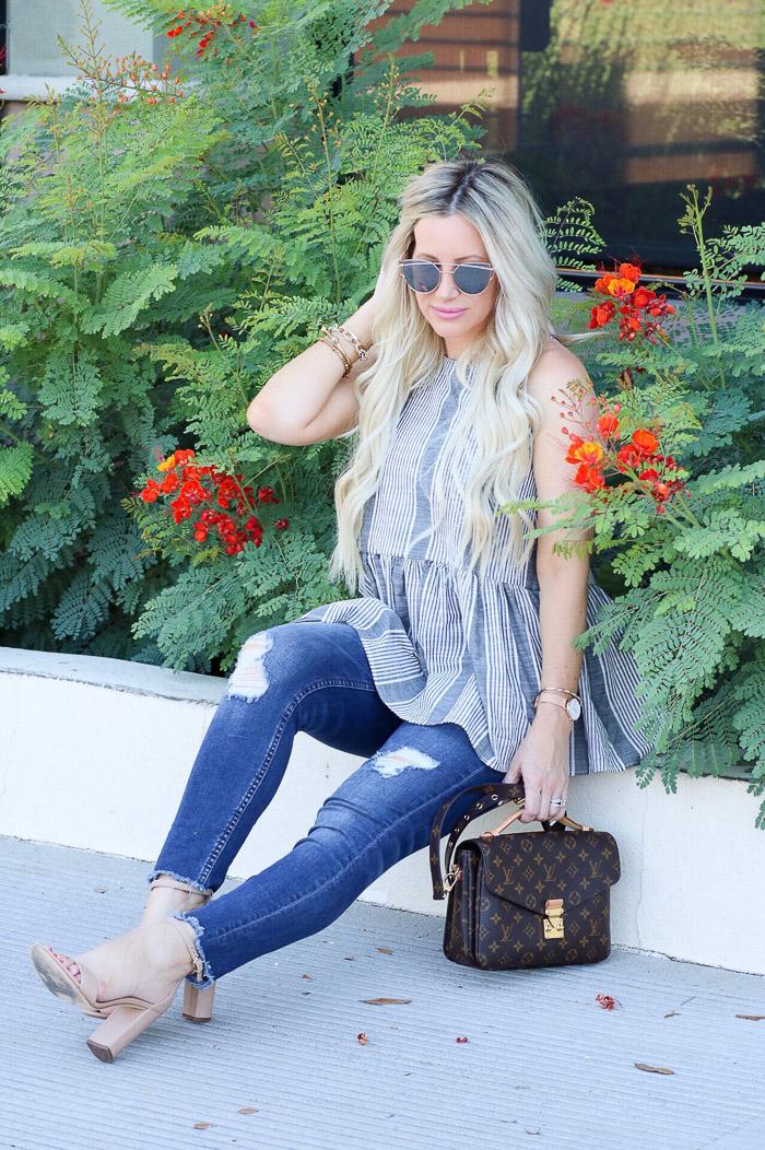 Live Love Blank Instagram Favorites Round Up and Recap June 2017 BP peplum stripe sleeveless woven top, nordstrom distressed denim jeans, sam edelman heels beige, louis vuitton pochette metis monogram bag handbag purse