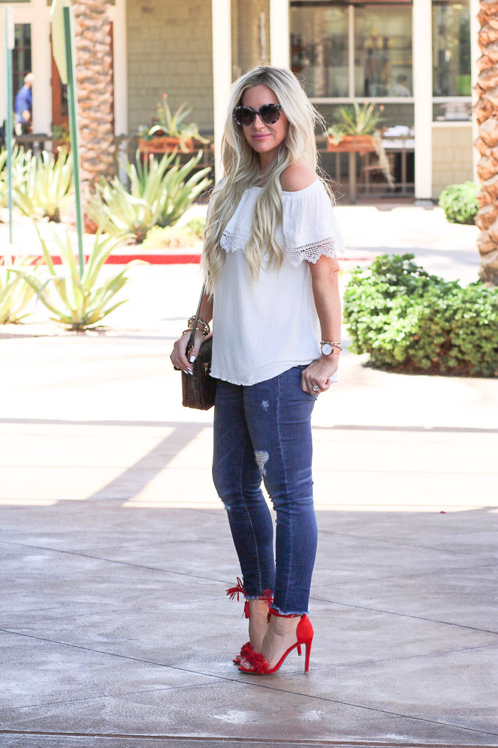 Live Love Blank Instagram Favorites Round Up and Recap June 2017 July 4th outfit red white and blue sonix black sunglasses white off the shoulder top lace trim, red target style heels mossimo fringe heels, nordstrom dark distressed denim jeans, daniel wellington watch, louis vuitton pochette metis bag handbag