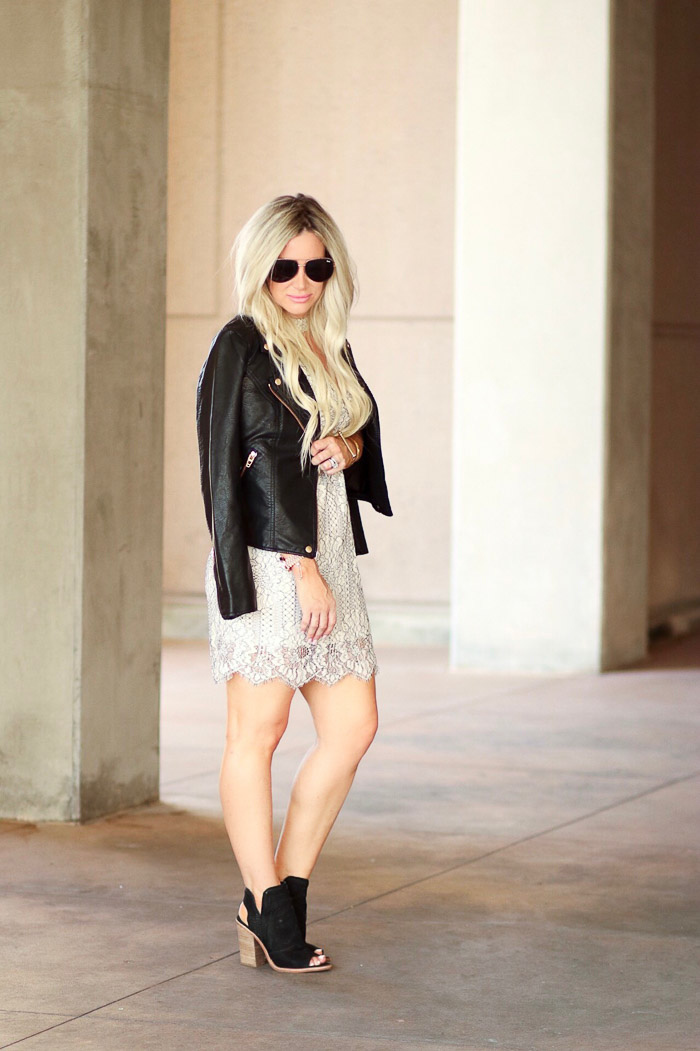 Live Love Blank Lace and Faux Leather...White After labor Day of course