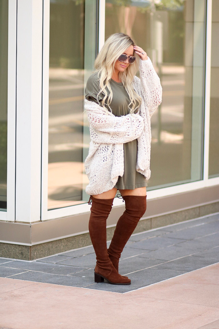 9Live Love Blank The Must Gave Cardigan, T-Shirt Ruffle Sleeve Dress, and Over the Knee Boots for Everyday