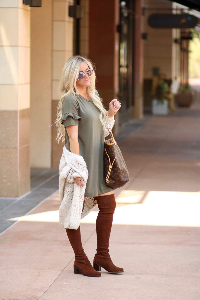Live Love Blank The Must Gave Cardigan, T-Shirt Ruffle Sleeve Dress, and Over the Knee Boots for Everyday