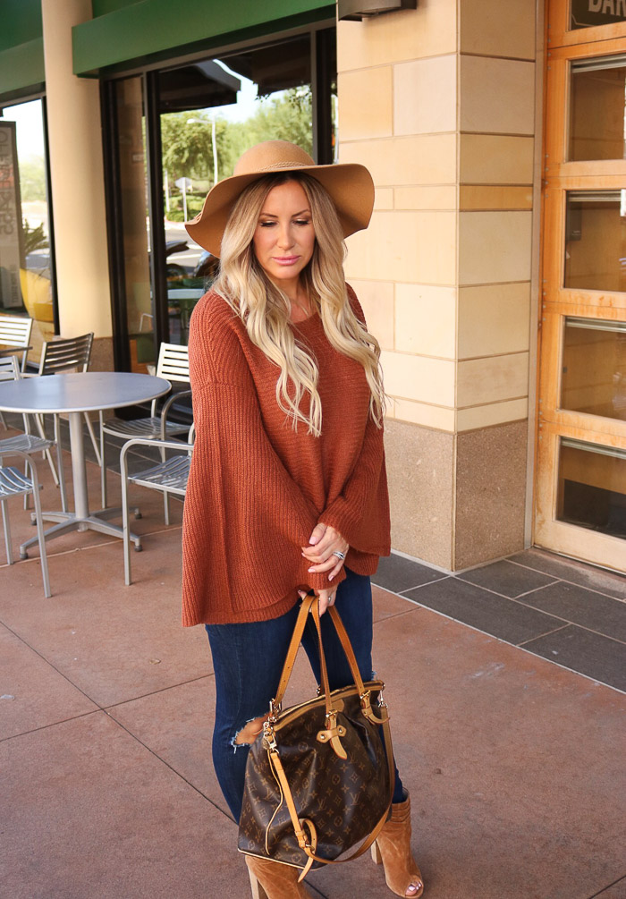 Live Love Blank Fall Style Rustic Brown Bell Sleeve Cozy Sweater