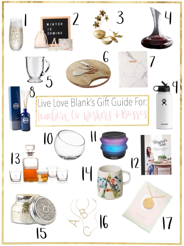 liveloveblank.com Live Love Blank Gift Guide 2018 for Teachers, Co-workers, Bosses etc. Lifestyle Blog