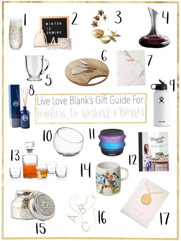 liveloveblank.com Live Love Blank Gift Guide 2018 for Teachers, Co-workers, Bosses etc. Lifestyle Blog