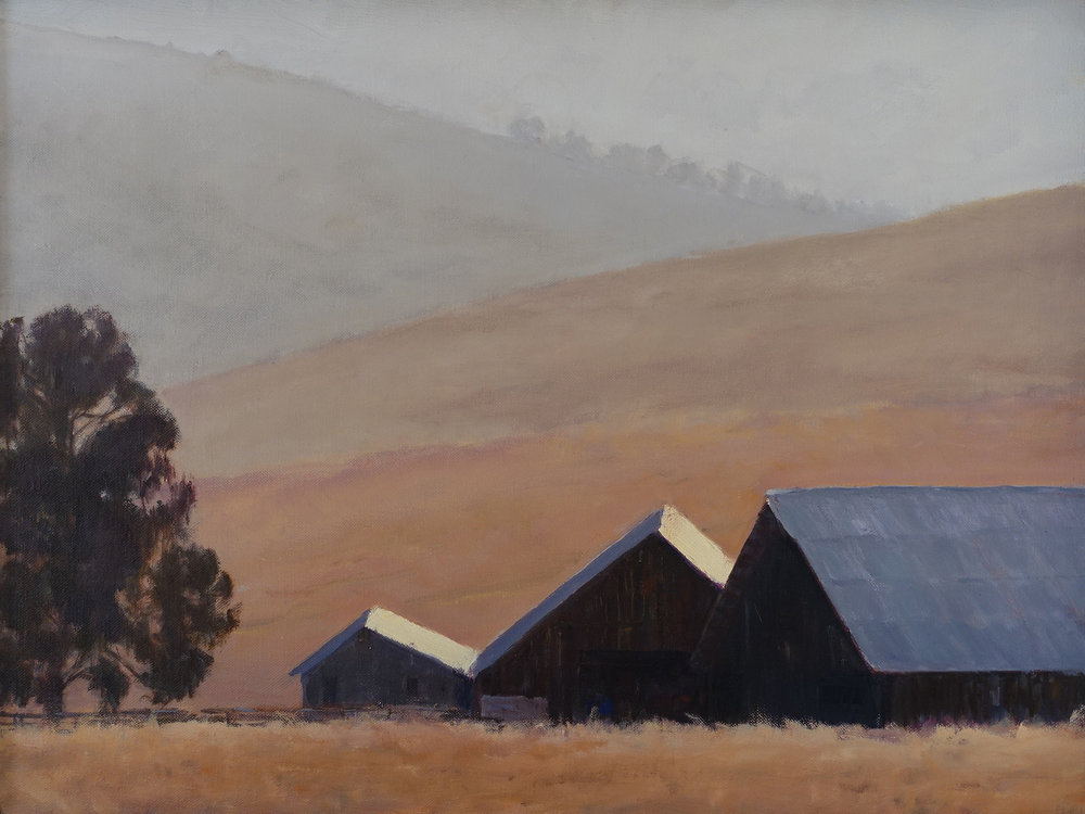 Barns in the Mist, 18 x 24 inches, SOLD