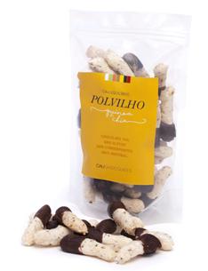 Polvilho de quinoa e chia Banhado com chocolate 70% cacau. Snack delicioso e diferente para qualquer hora do dia.