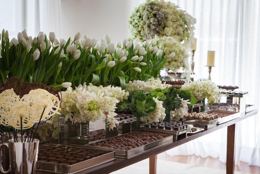 Visão geral da mesa de chocolates