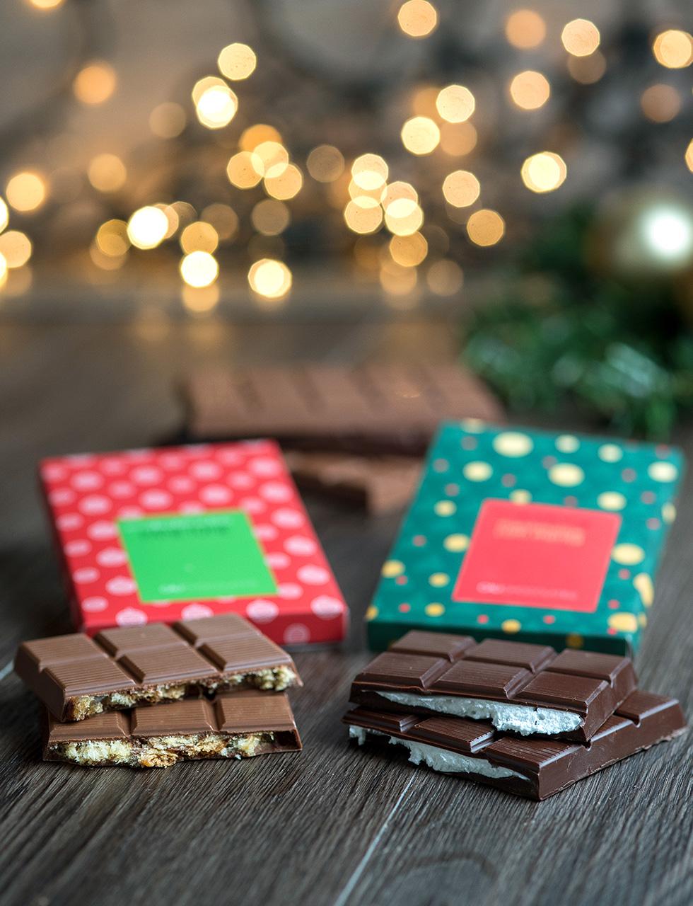 Barra de chocolate recheada cod 1751 - panetone 100 g - R$ 38 cod 1741 - marshmallow com menta 100 g - R$ 38