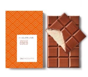 Mais puro chocolate ao leite com recheio de ganache de coco
