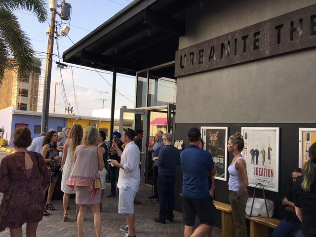 The crowd gathers outside the Urbanite Theatre in Sarasota, Florida